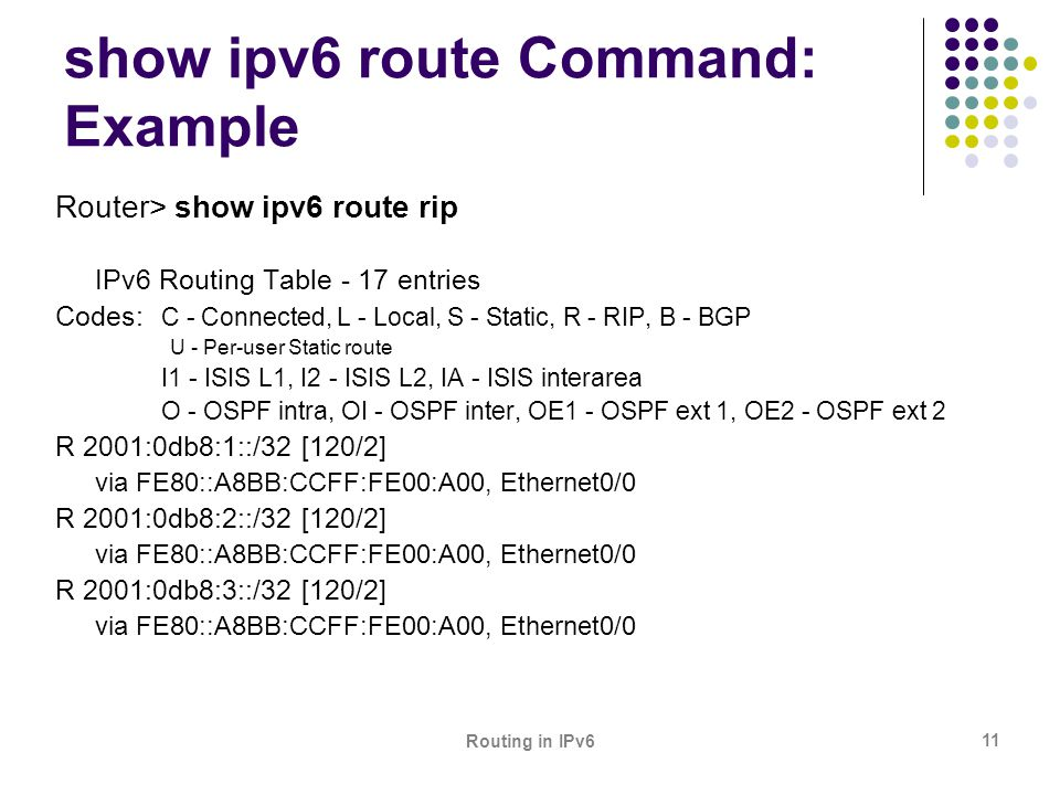 Routing in IPv6 11 show ipv6 route Command: Example Router> show ipv6 route rip IPv6 Routing Table - 17 entries Codes: C - Connected, L - Local, S - S