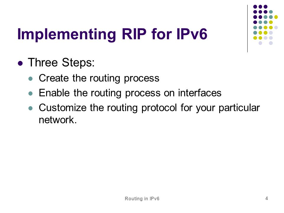 Routing in IPv6 25 Adjusting the Hold Time in EIGRP for IPv6 On very congested and large networks, the default hold time might not be sufficient time for all routers to receive hello packets from their neighbors.