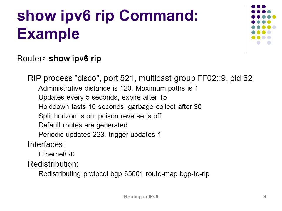 Routing in IPv6 9 show ipv6 rip Command: Example Router> show ipv6 rip RIP process