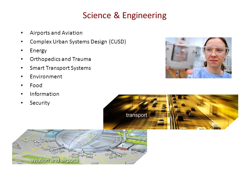 Science & Engineering Airports and Aviation Complex Urban Systems Design (CUSD) Energy Orthopedics and Trauma Smart Transport Systems Environment Food Information Security