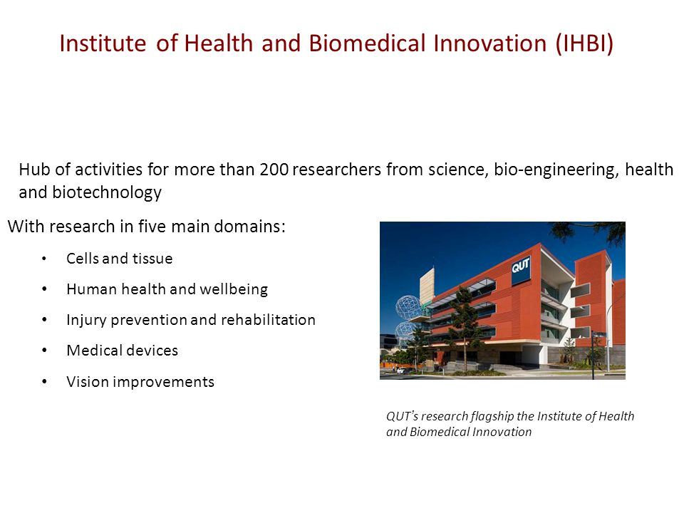Institute of Health and Biomedical Innovation (IHBI) Hub of activities for more than 200 researchers from science, bio-engineering, health and biotechnology With research in five main domains: Cells and tissue Human health and wellbeing Injury prevention and rehabilitation Medical devices Vision improvements QUT's research flagship the Institute of Health and Biomedical Innovation