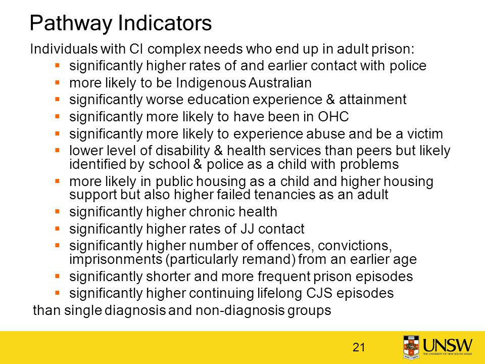 Pathway Indicators Individuals with CI complex needs who end up in adult prison:  significantly higher rates of and earlier contact with police  mor