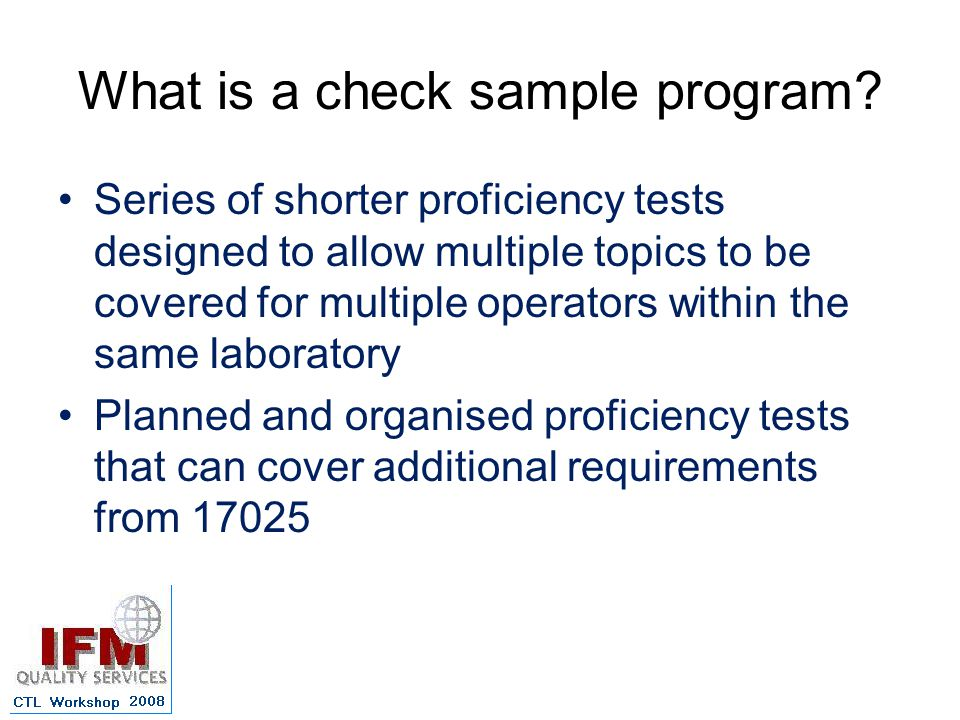 What is a check sample program.
