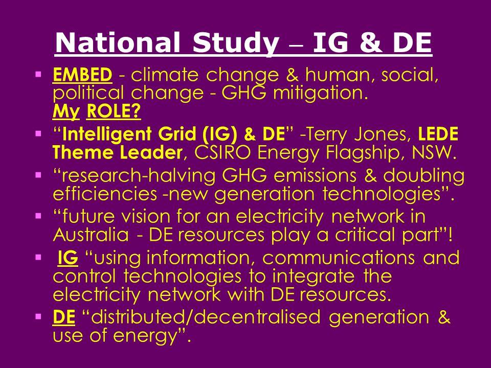 National Study – IG & DE  EMBED - climate change & human, social, political change - GHG mitigation.