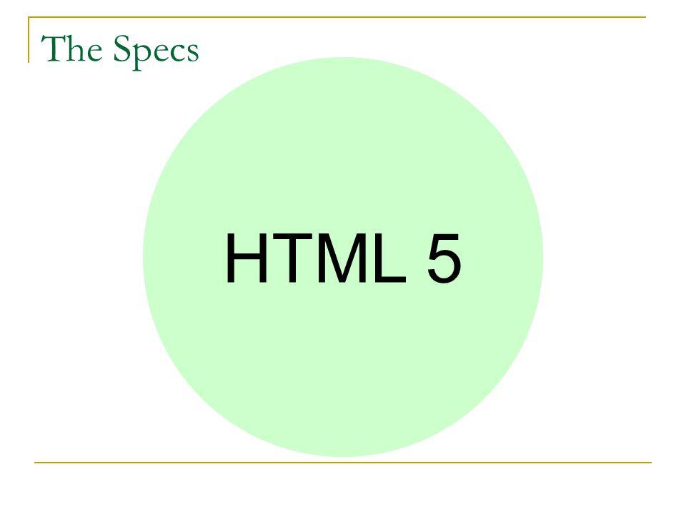 Web Applications 1.0Web Forms 2.0 Web Controls 1.0 HTML 5 The Specs