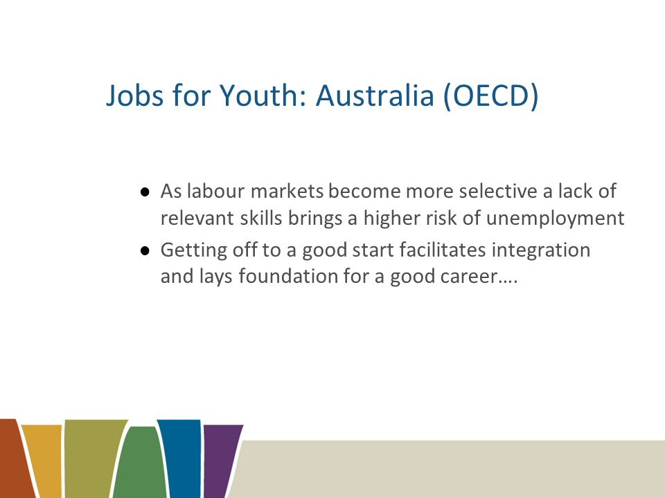 Jobs for Youth: Australia (OECD) As labour markets become more selective a lack of relevant skills brings a higher risk of unemployment Getting off to a good start facilitates integration and lays foundation for a good career….