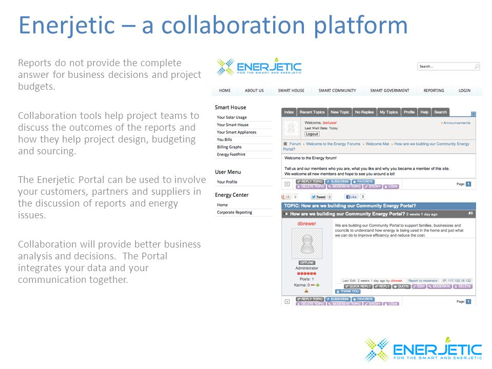 Enerjetic – a collaboration platform Reports do not provide the complete answer for business decisions and project budgets.