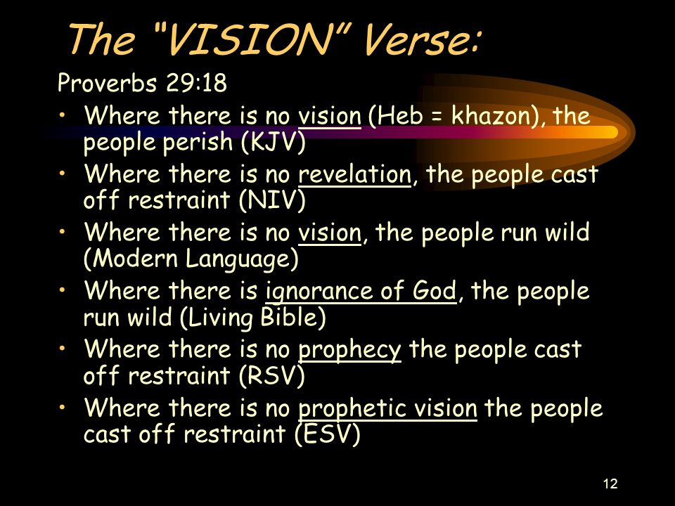 12 The VISION Verse: Proverbs 29:18 Where there is no vision (Heb = khazon), the people perish (KJV) Where there is no revelation, the people cast off restraint (NIV) Where there is no vision, the people run wild (Modern Language) Where there is ignorance of God, the people run wild (Living Bible) Where there is no prophecy the people cast off restraint (RSV) Where there is no prophetic vision the people cast off restraint (ESV)