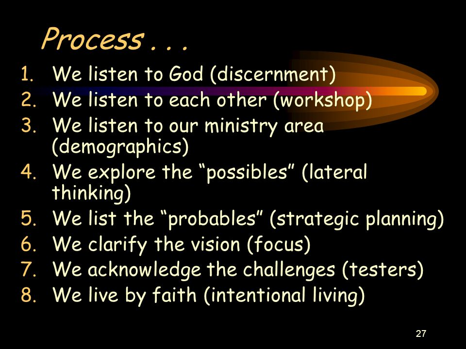 """27 Process... 1.We listen to God (discernment) 2.We listen to each other (workshop) 3.We listen to our ministry area (demographics) 4.We explore the """""""