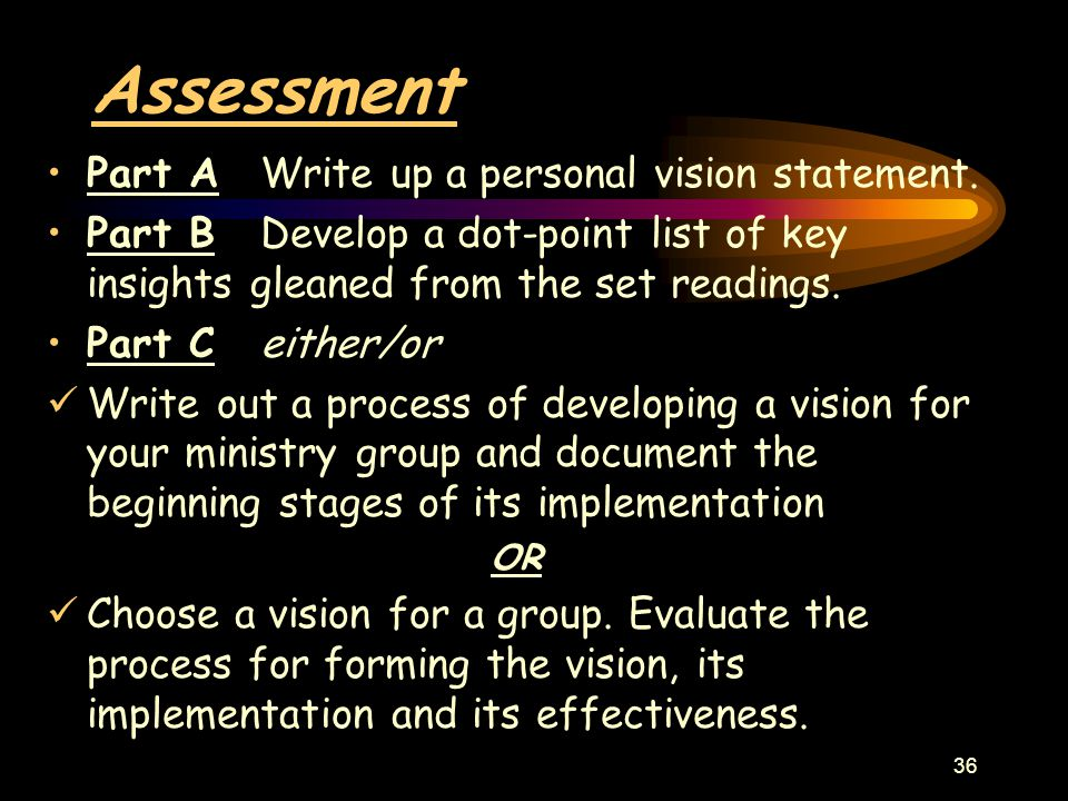 36 Assessment Part A Write up a personal vision statement.