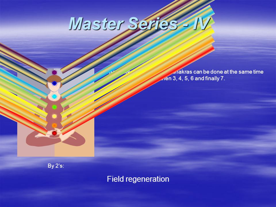As power increases, more chakras can be done at the same time i.e. 2 then 3, 4, 5, 6 and finally 7. Field regeneration By 2's: Master Series - IV