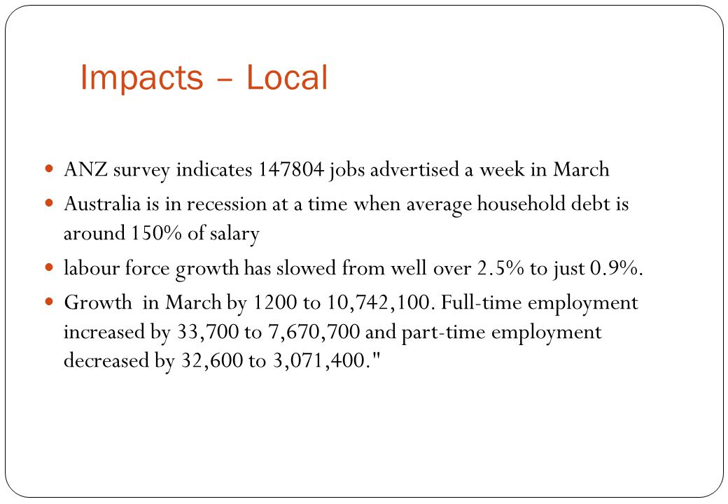 Impacts – Local ANZ survey indicates 147804 jobs advertised a week in March Australia is in recession at a time when average household debt is around
