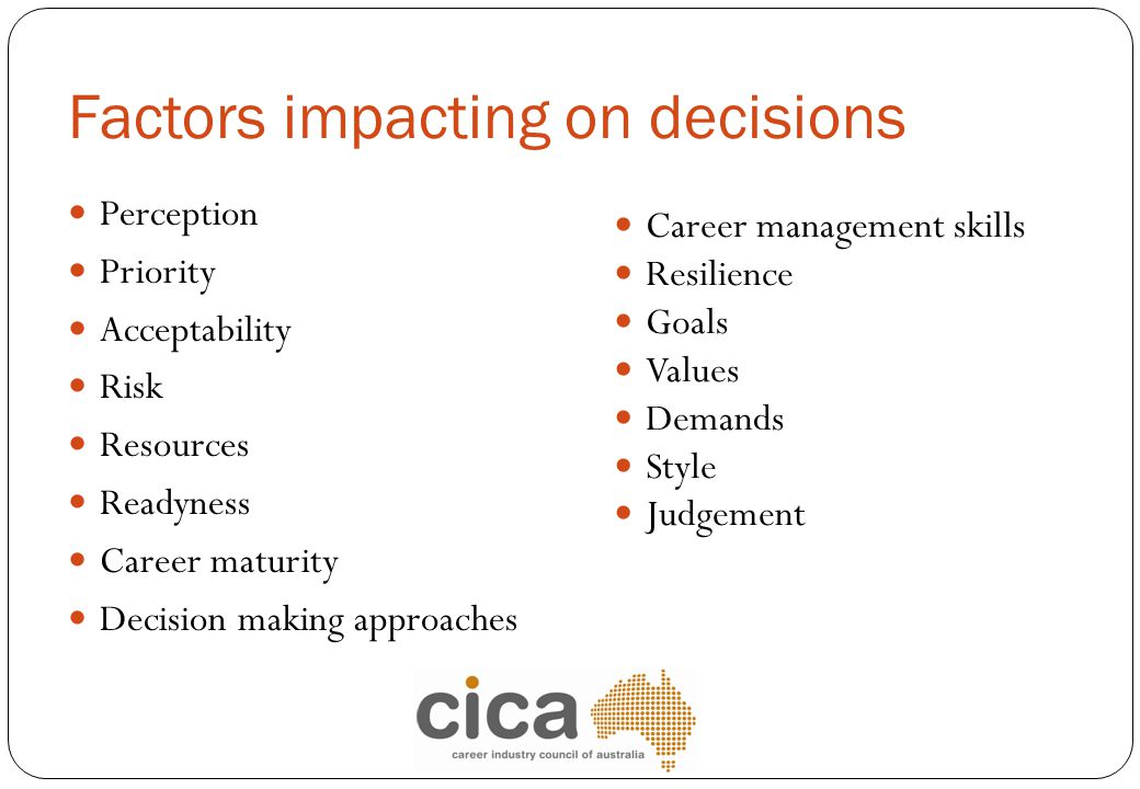 Factors impacting on decisions Perception Priority Acceptability Risk Resources Readyness Career maturity Decision making approaches Career management