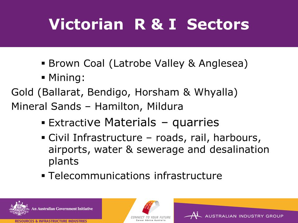 Victorian R & I Sectors  Brown Coal (Latrobe Valley & Anglesea)  Mining: Gold (Ballarat, Bendigo, Horsham & Whyalla) Mineral Sands – Hamilton, Mildura  Extracti ve Materials – quarries  Civil Infrastructure – roads, rail, harbours, airports, water & sewerage and desalination plants  Telecommunications infrastructure