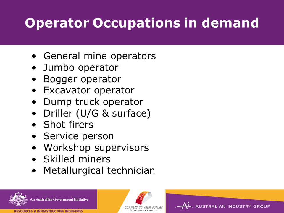 Operator Occupations in demand General mine operators Jumbo operator Bogger operator Excavator operator Dump truck operator Driller (U/G & surface) Shot firers Service person Workshop supervisors Skilled miners Metallurgical technician