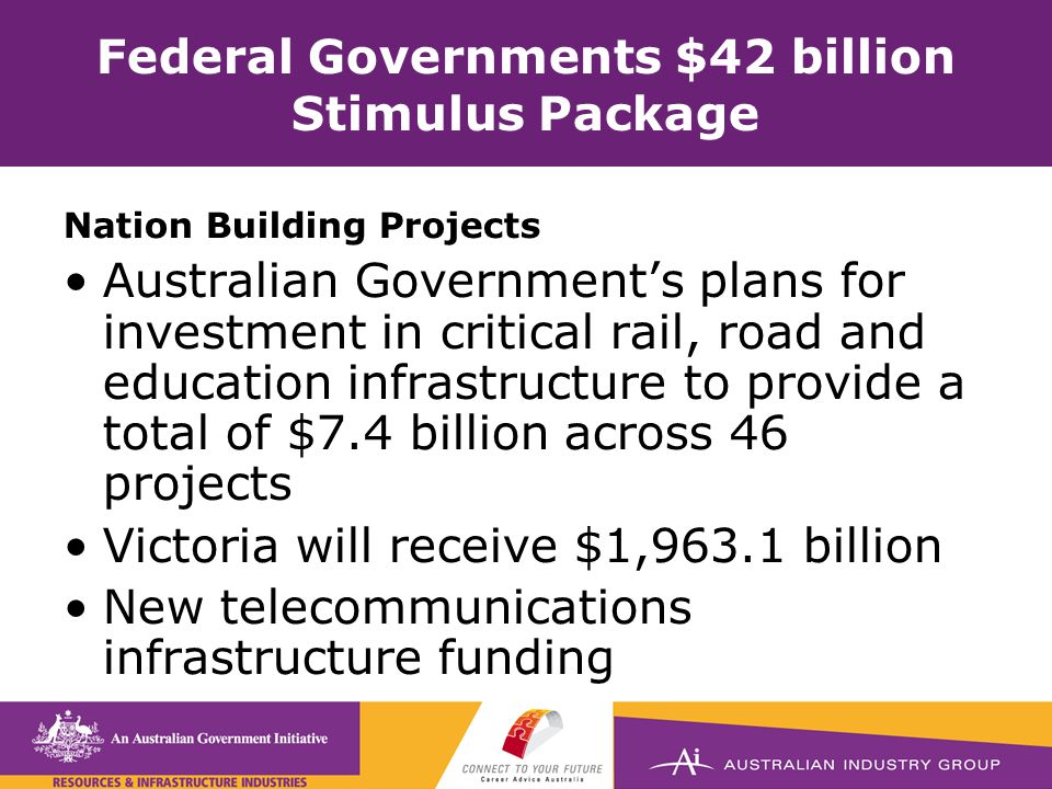 Federal Governments $42 billion Stimulus Package Nation Building Projects Australian Government's plans for investment in critical rail, road and education infrastructure to provide a total of $7.4 billion across 46 projects Victoria will receive $1,963.1 billion New telecommunications infrastructure funding