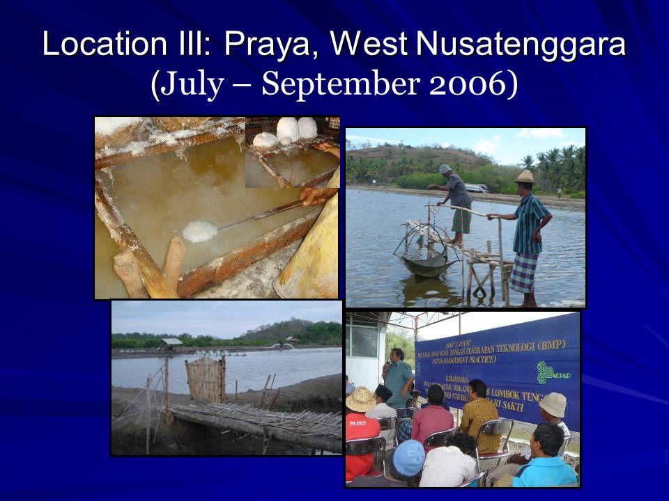 Location III: Praya, West Nusatenggara ( Location III: Praya, West Nusatenggara ( July – September 2006)