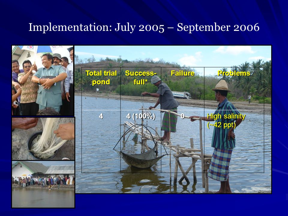 Implementation: July 2005 – September 2006 Total trial pond Success- full* FailureProblems4 4 (100%) 0 High salinity (~42 ppt)