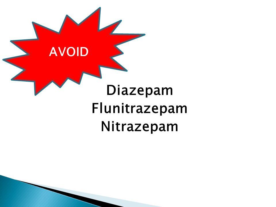 Diazepam Flunitrazepam Nitrazepam AVOID