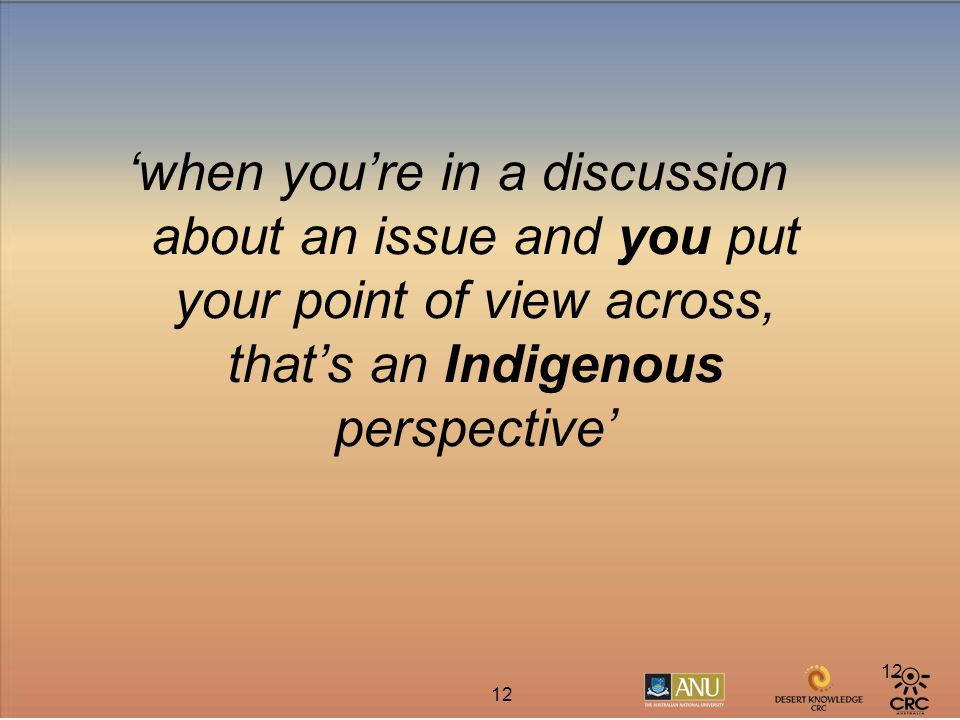 12 'when you're in a discussion about an issue and you put your point of view across, that's an Indigenous perspective'