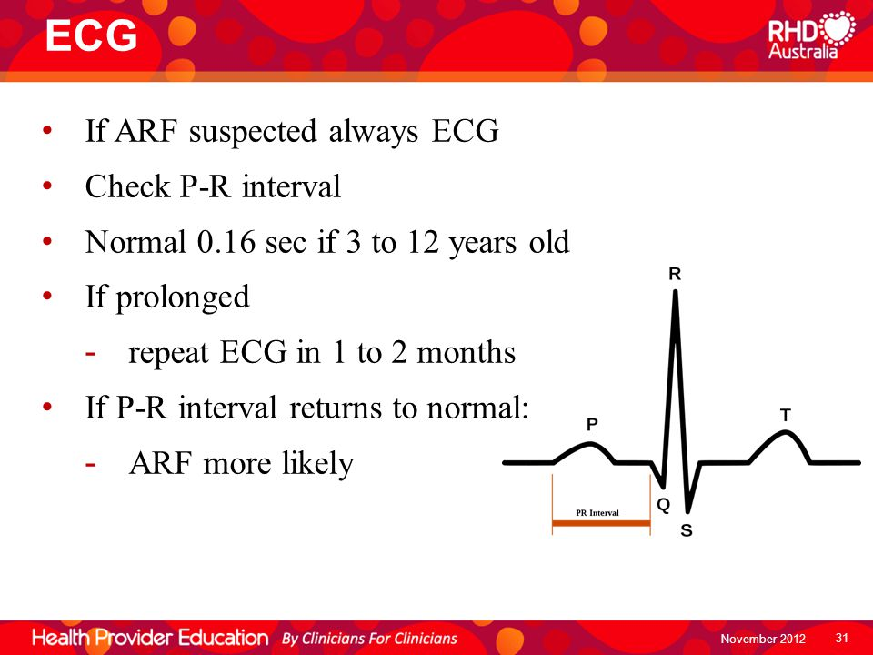ECG If ARF suspected always ECG Check P-R interval Normal 0.16 sec if 3 to 12 years old If prolonged -repeat ECG in 1 to 2 months If P-R interval retu