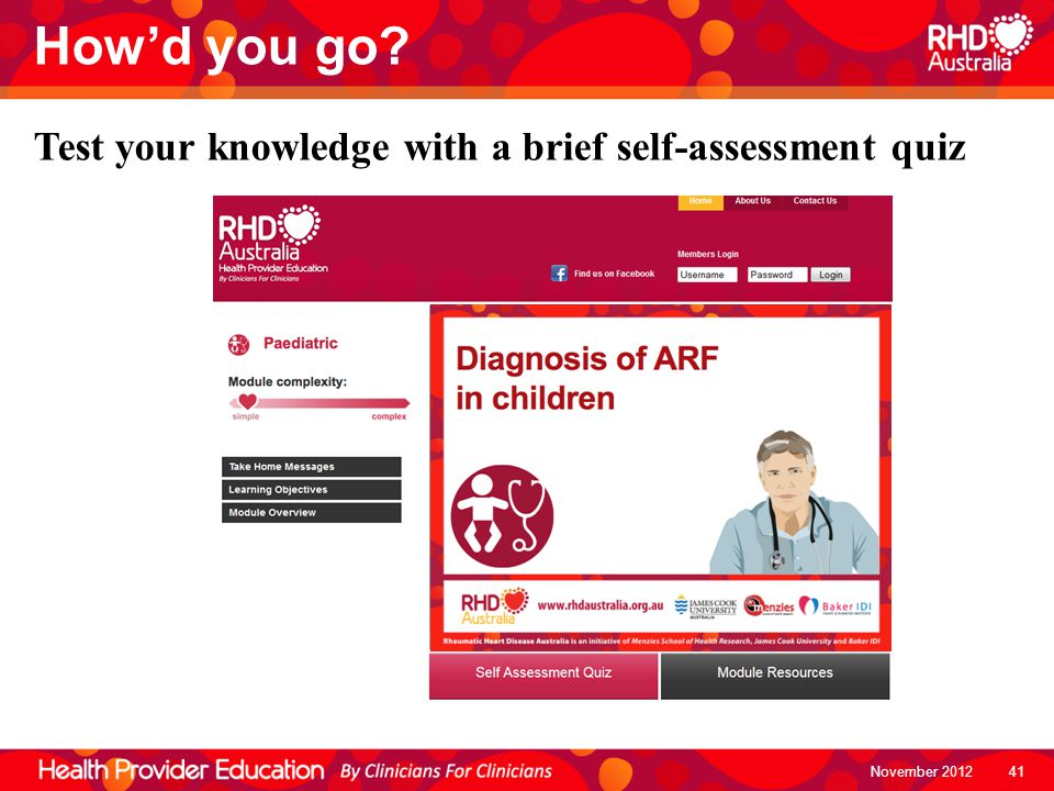November 2012 How'd you go? Test your knowledge with a brief self-assessment quiz 41
