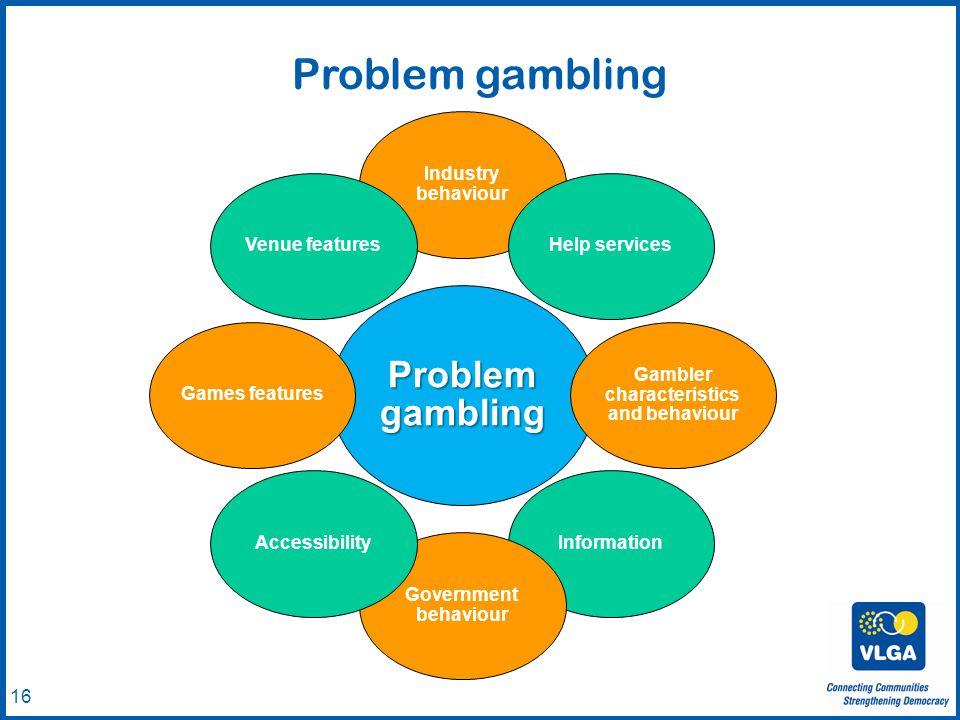 © VLGA 2010 16 Problem gambling Industry behaviour Help services Gambler characteristics and behaviour Information Government behaviour AccessibilityG