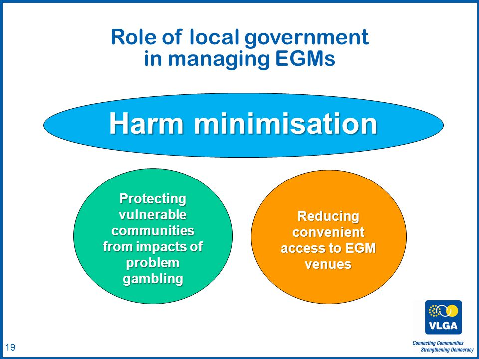 © VLGA 2010 19 Role of local government in managing EGMs Harm minimisation Protecting vulnerable communities from impacts of problem gambling Reducing convenient access to EGM venues