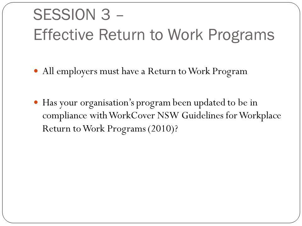 SESSION 3 – Effective Return to Work Programs All employers must have a Return to Work Program Has your organisation's program been updated to be in compliance with WorkCover NSW Guidelines for Workplace Return to Work Programs (2010)