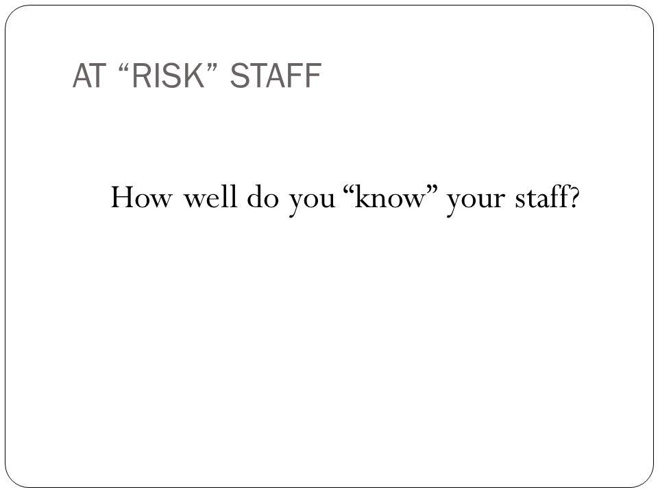 AT RISK STAFF How well do you know your staff