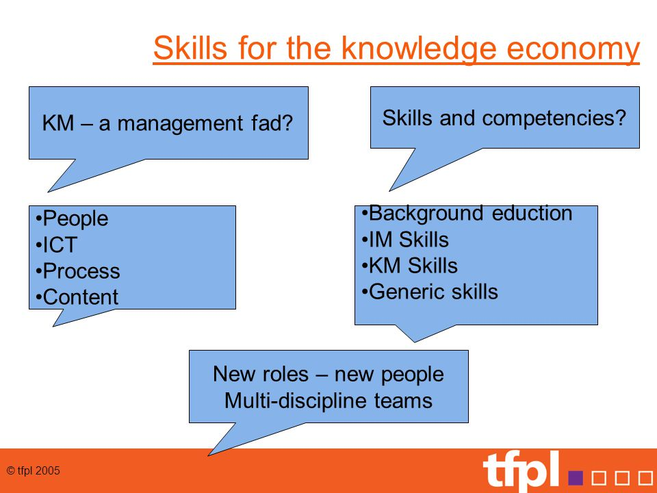 © tfpl 2005 Skills for the knowledge economy KM – a management fad.