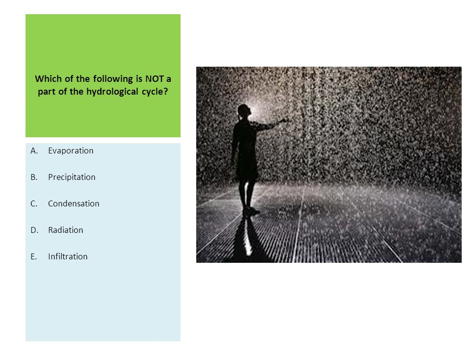 Which of the following is NOT a part of the hydrological cycle? A.Evaporation B.Precipitation C.Condensation D.Radiation E.Infiltration