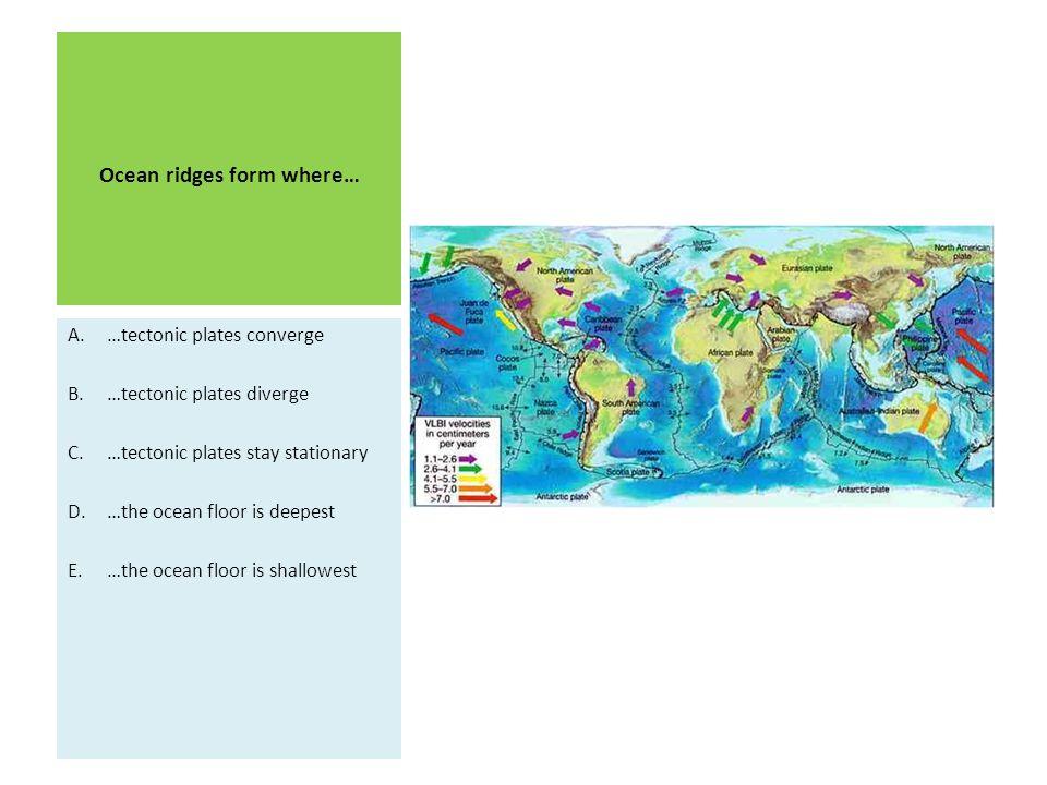 Ocean ridges form where… A.…tectonic plates converge B.…tectonic plates diverge C.…tectonic plates stay stationary D.…the ocean floor is deepest E.…the ocean floor is shallowest