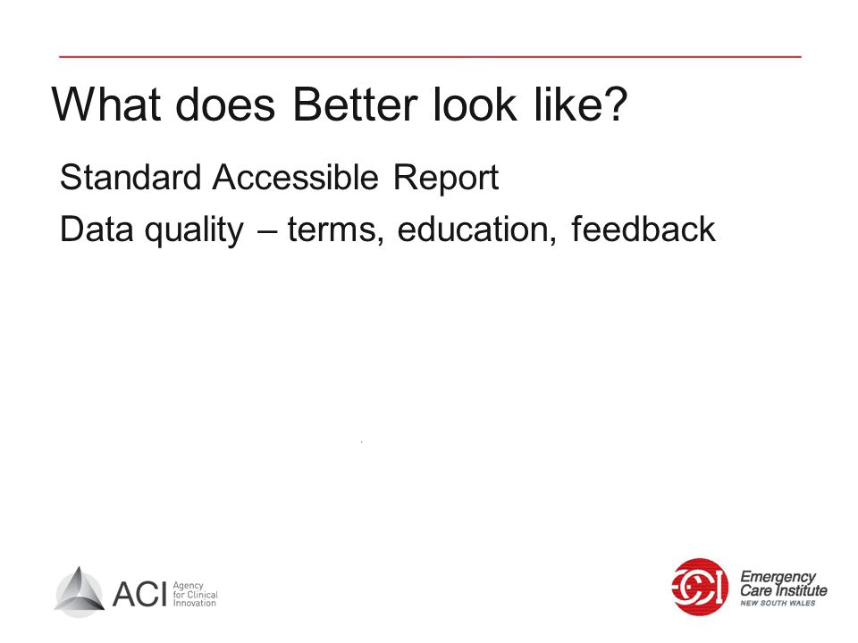 What does Better look like? Standard Accessible Report Data quality – terms, education, feedback