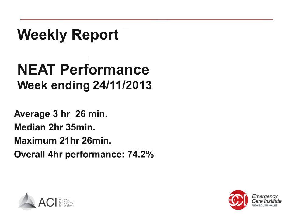 Weekly Report NEAT Performance Week ending 24/11/2013 Average 3 hr 26 min. Median 2hr 35min. Maximum 21hr 26min. Overall 4hr performance: 74.2%