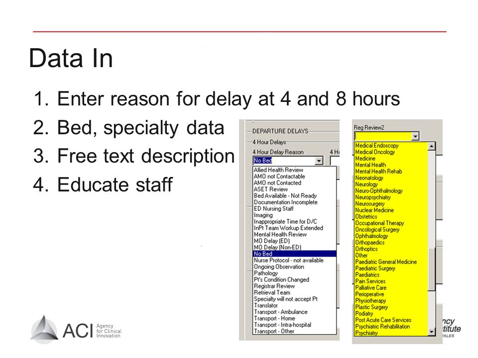 Data In 1.Enter reason for delay at 4 and 8 hours 2.Bed, specialty data 3.Free text description 4.Educate staff