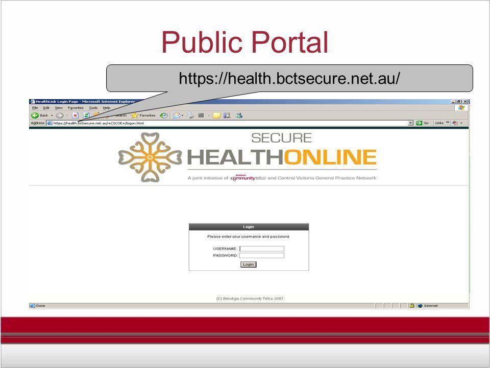Public Portal https://health.bctsecure.net.au/