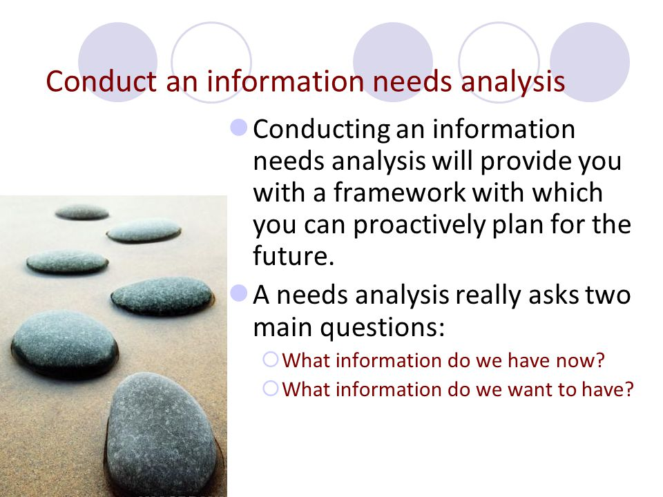 Conducting an information needs analysis will provide you with a framework with which you can proactively plan for the future. A needs analysis really