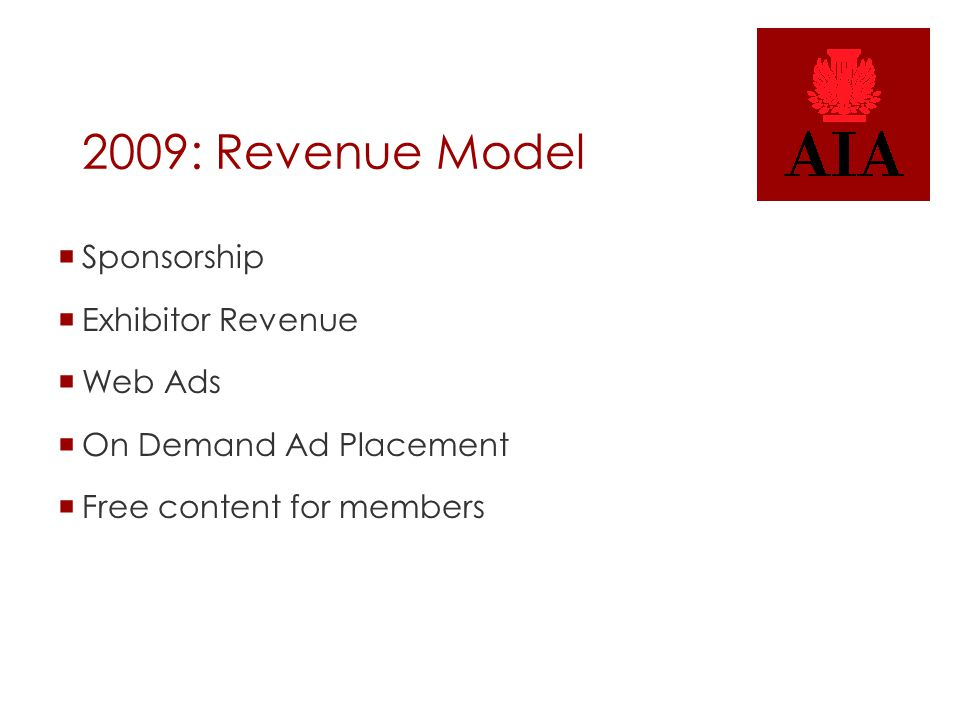 2009: Revenue Model  Sponsorship  Exhibitor Revenue  Web Ads  On Demand Ad Placement  Free content for members