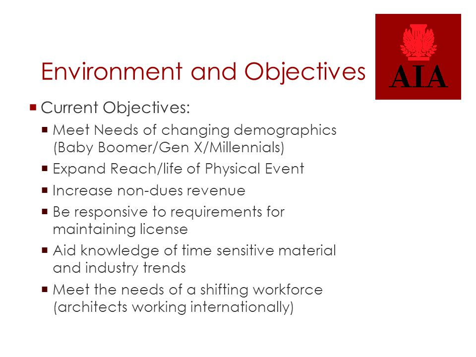 Environment and Objectives  Current Objectives:  Meet Needs of changing demographics (Baby Boomer/Gen X/Millennials)  Expand Reach/life of Physical Event  Increase non-dues revenue  Be responsive to requirements for maintaining license  Aid knowledge of time sensitive material and industry trends  Meet the needs of a shifting workforce (architects working internationally)