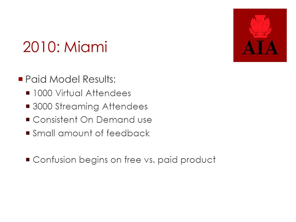 2010: Miami  Paid Model Results:  1000 Virtual Attendees  3000 Streaming Attendees  Consistent On Demand use  Small amount of feedback  Confusion begins on free vs.