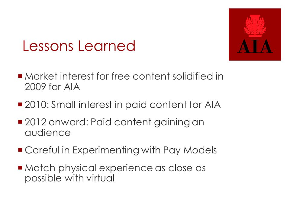 Lessons Learned  Market interest for free content solidified in 2009 for AIA  2010: Small interest in paid content for AIA  2012 onward: Paid conte