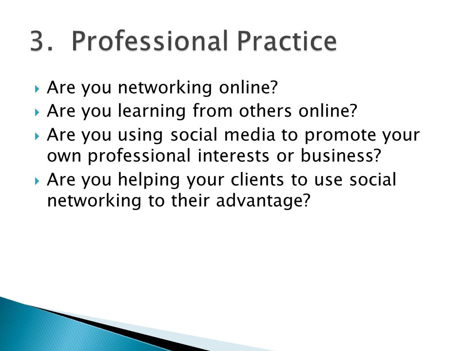  Are you networking online?  Are you learning from others online?  Are you using social media to promote your own professional interests or busines