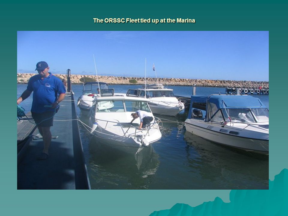The ORSSC Fleet tied up at the Marina