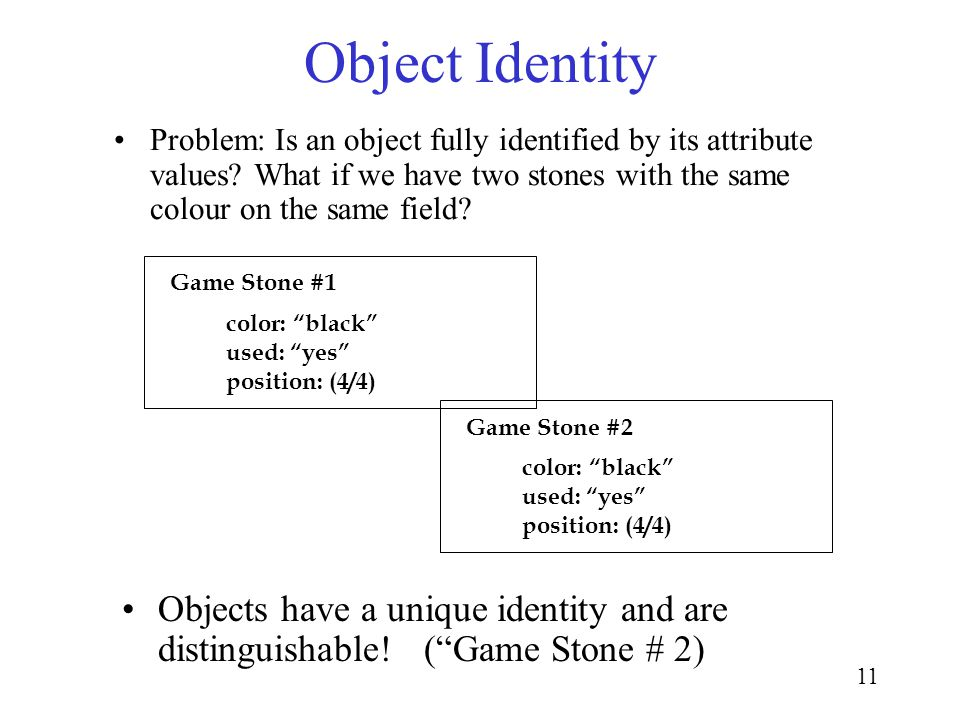 11 Object Identity Problem: Is an object fully identified by its attribute values.