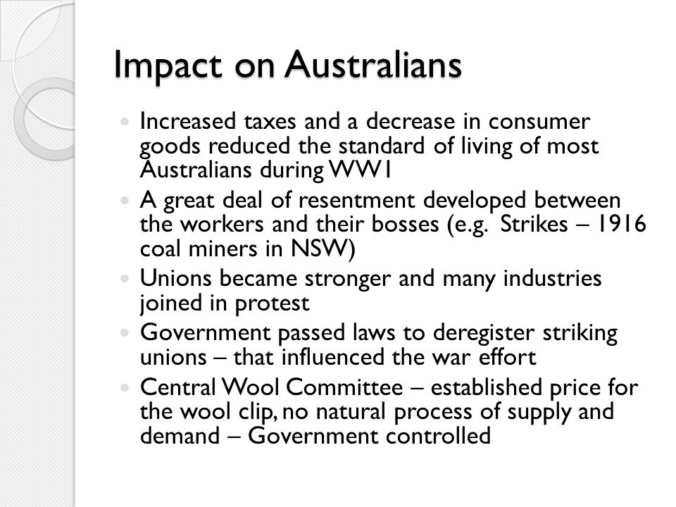 More impacts on Australians...
