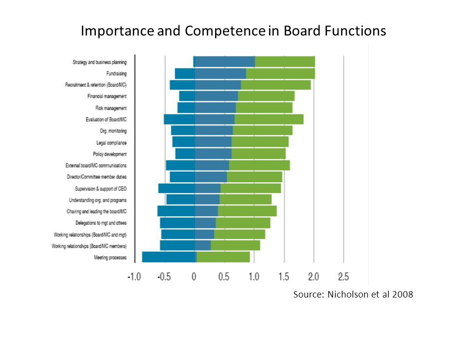 Importance and Competence in Board Functions Source: Nicholson et al 2008