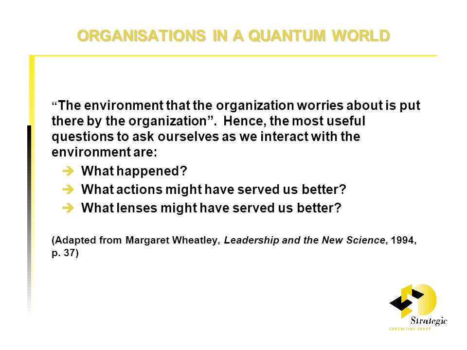 ORGANISATIONS IN A QUANTUM WORLD The environment that the organization worries about is put there by the organization .