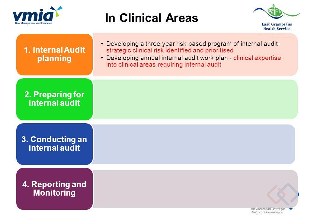 Developing a three year risk based program of internal audit- strategic clinical risk identified and prioritised Developing annual internal audit work