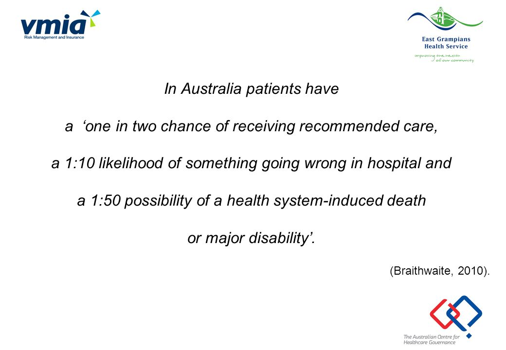In Australia patients have a 'one in two chance of receiving recommended care, a 1:10 likelihood of something going wrong in hospital and a 1:50 possi